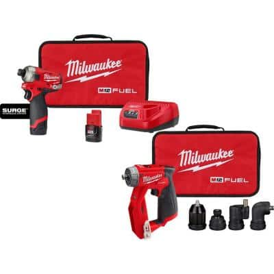 M12 FUEL 12-Volt Li-Ion Cordless SURGE 1/4 in. Hex Impact Driver and 4-in-1 Installation 3/8 in. Drill Driver Combo Kit