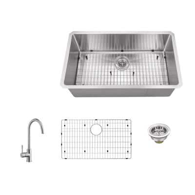 Undermount 32 in. 16-Gauge Stainless Steel Single Bowl Kitchen Sink in Brushed Stainless with Gooseneck Kitchen Faucet