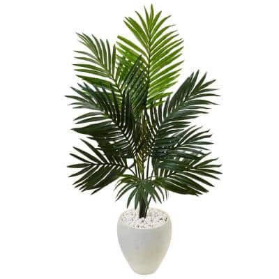 Indoor Kentia Palm Artificial Tree in White Oval Planter