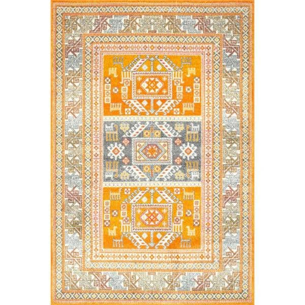 Nuloom Marisela Tribal Panels Yellow 8 Ft X 10 Ft Area Rug Rzbd48b 8010 The Home Depot