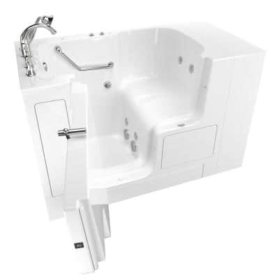 Gelcoat Value Series 52in. x 32in. Left Hand Touch Control Walk-In Whirlpool Bathtub with Outward Opening Door in White