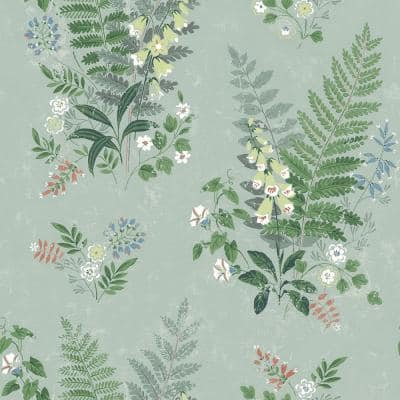 Foxglove Sage Botanical Paper Strippable Roll (Covers 57.8 sq. ft.)