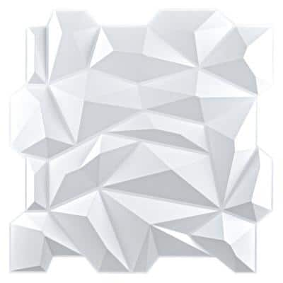 Diamond Embossed Pattern 19.7 in. x 19.7 in. PVC 3D Wall Panel in White for Interior Decor (12-Panels)