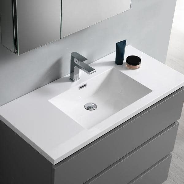 Fresca Lazzaro 40 In Modern Bathroom Vanity In Gray With Vanity Top In White With White Basin Fcb9342gr I The Home Depot