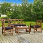 4-Piece Wooden Patio Conversation Set with Blue Cushions, 2 Armchairs, Loveseat, and Center Coffee Table