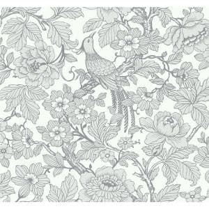 Beaufort Light Grey Peony Chinoiserie Wallpaper