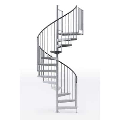 Reroute Galvanized Exterior 60in Diameter, Fits Height 136in - 152in, 2 42in Tall Platform Rails Spiral Staircase Kit