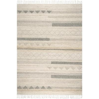 Geometric Stripes Tassel Beige 9 ft. x 12 ft. Wool Indoor Area Rug