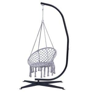 7.05 ft. Outdoor Hammock Chair with Stand, Gray