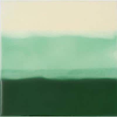 Hand-Painted Ceramic Tri-Color Green 6 in. x 6 in. x 6.35 mm Glazed Ceramic Wall Tile (2.5 sq. ft. / case)