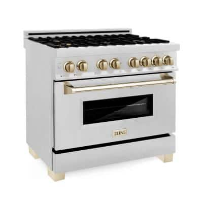 Autograph Edition 36 in. 4.6 cu. ft. Dual Fuel Range with Gas Stove and Electric Oven in DuraSnow with Gold Accents