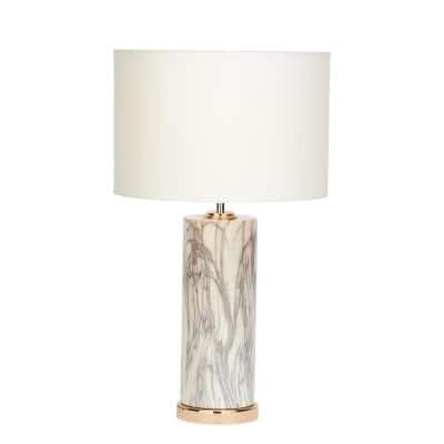 26 in. White with Black Marbling and Copper Modern Cylindrical Table Lamp with White Drum Shade