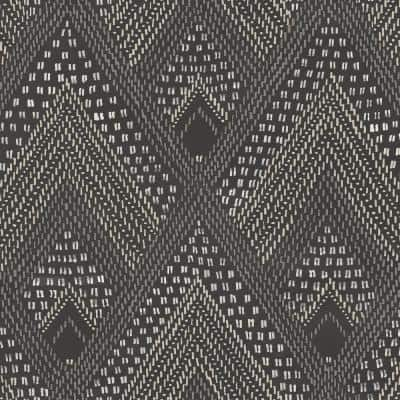 Panama Boho Diamonds Black Sands and Charcoal Geometric Paper Strippable Roll (Covers 56.05 sq. ft.)