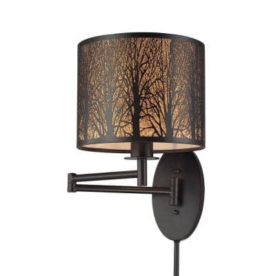 Woodland Sunrise 1-Light Oil Rubbed Bronze Swing Arm Light