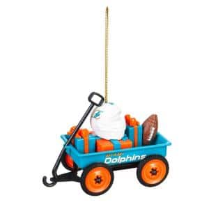 Miami Dolphins 1-3/4 in. NFL Team Wagon Christmas Ornament