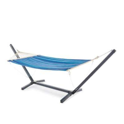 Aspen 13.5 ft. Portable Quilted Hammock Bed with Stand in Grey, Multi-Blue, Red and White