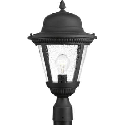 Westport Collection 1-Light Textured Black Clear Seeded Glass Traditional Outdoor Post Lantern Light