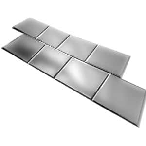 Reflections Frosted Silver Beveled Square 8 in. x 8 in. x 0.2 in Glass Mirror Wall Tile ( 16 Sq. ft./Case)