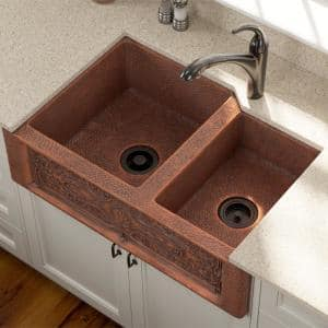 Farmhouse Apron Front Copper 33 in. Double Bowl Kitchen Sink