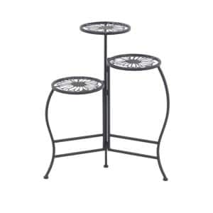 Modern 24 in. x 21 in. Black 3-Tier Floral Design Folding Plant Stand