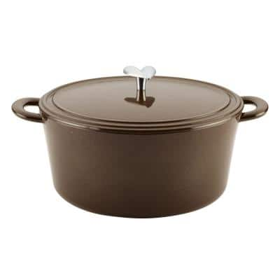 Home Collection 6 qt. Oval Cast Iron Dutch Oven in Brown Sugar with Lid
