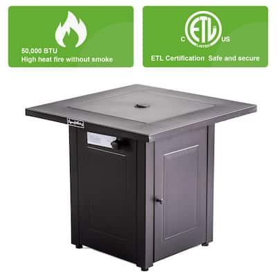 28 in. x 24 in. H 48000 BTU Square Steel Propane Black Fire Pit Table