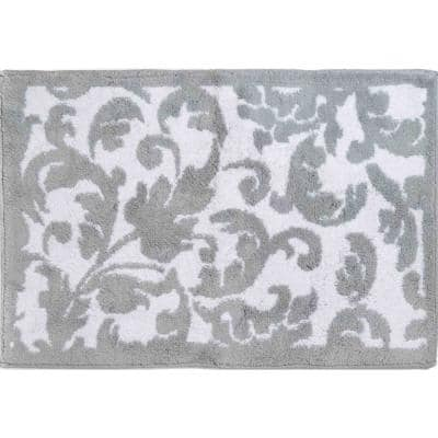 Basel reversible Chrome 21 in. x 34 in. Cotton Bath Rug