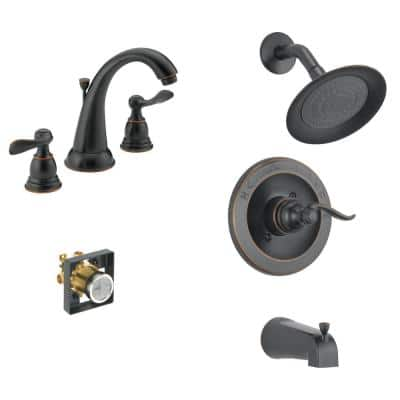 Windemere 8 in. Widespread 2-Handle Bathroom Faucet Bundle with Tub/Shower Trim and Rough-In in Oil Rubbed Bronze