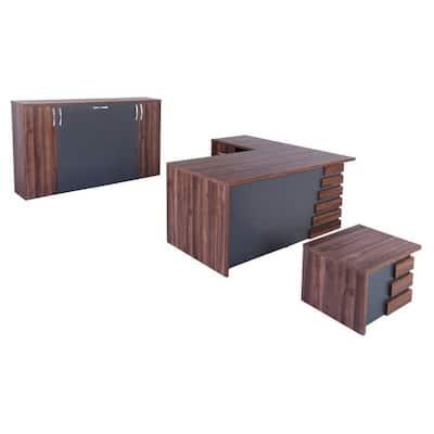 Modern Atlas 79 in. Light Brown and Grey Wood L Shaped Desk Office Suite Furniture (Set of 3)