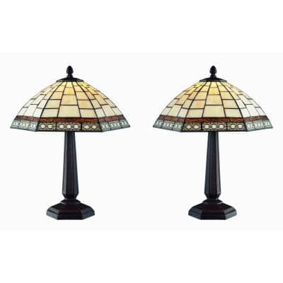 Tiffany Style 18 in. White Antique Table Lamp Set
