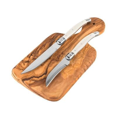 Olive Wood 3-Piece Cutting Board and Stainless Steel Citrus Knife Set