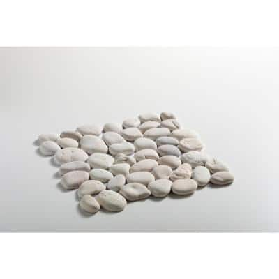 Classic Pebble Tile White 11-1/2 in. x 11-1/2 in. x 12.7 mm Mesh-Mounted Mosaic Tile (10.12 sq. ft. / case)