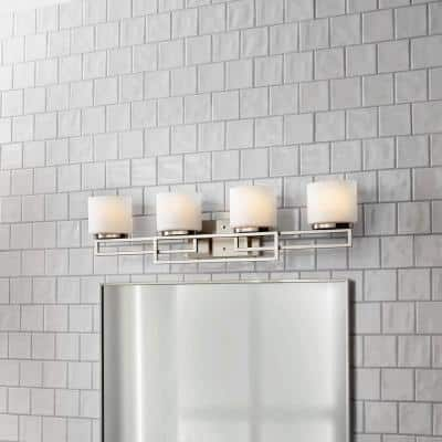 Tustna 4-Light Brushed Nickel Bathroom Vanity Light with Opal Glass Shades