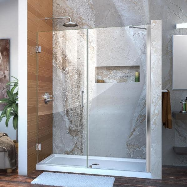 Dreamline Unidoor 58 To 59 In X 72 In Frameless Hinged Shower Door In Chrome Shdr 20587210 01 The Home Depot