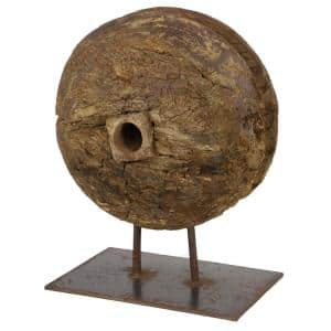12.5 in. x 16 in. Wooden Ox Cart Wheel Reclaimed Wood Sculpture on Metal Stand