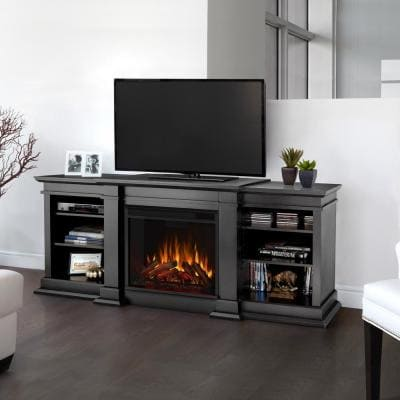 Fresno 72 in. Media Console Electric Fireplace TV Stand in Black