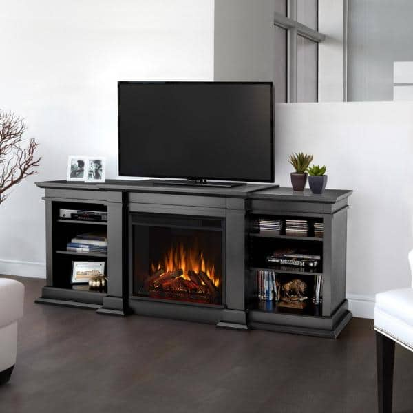 Real Flame Fresno 72 In Media Console, Black Media Storage Tv Stand And Electric Fireplace