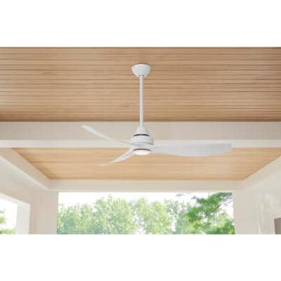 Levanto 52 in. LED Indoor/Outdoor White Ceiling Fan with Light