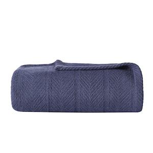 Navy Solid Cotton Full/Queen Woven Blanket