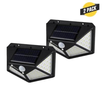 Outdoor Solar Lights with Motion Sensor - 100 LED 450 Lumens Bright Wall Spotlight for Gardens Porches Patios (2 Pack)