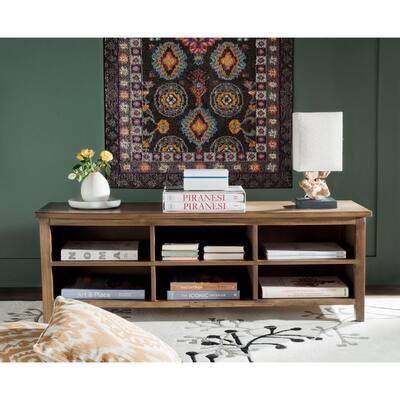 Sadie 17.71 in. Oak Wood 6-Shelf Etagere Bookcase with Drawers