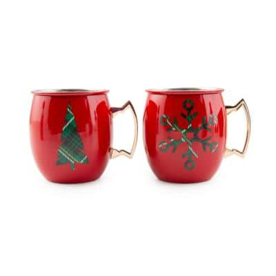 2 Pack of 20 oz. Red Christmas Moscow Mule Mugs