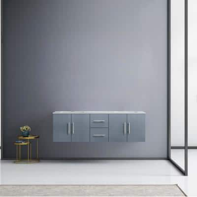 Geneva 60 in. W Double Bath Vanity in Dark Grey with Marble Vanity Top in White Carrara with White Square Basins