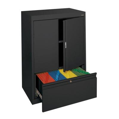 System Series 30 in. W x 42 in. H x 18 in. D Counter Height Storage Cabinet with File Drawer in Black