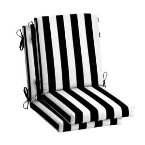 20 in.x 24 in. Outdoor High Back Dining Chair Cushion in Black Cabana Stripe (2-Pack)
