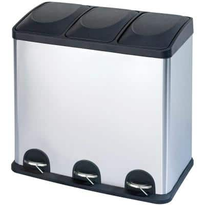 16 gal. 3 Compartment Stainless Steel Trash and Recycling Bin