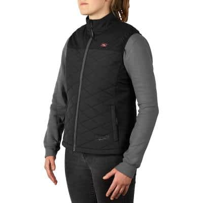 Women's Medium M12 12-Volt Lithium-Ion Cordless AXIS Black Heated Quilted Vest (Vest Only)