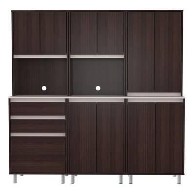 3-Piece Espresso and Ambar Grey Breakroom Cabinet