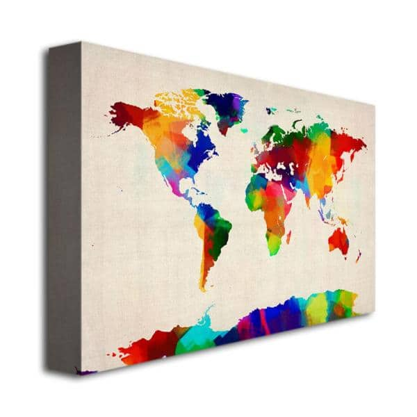 Trademark Fine Art 22 In X 32 In Sponge Painting World Map Canvas Art Mt0015 C2232gg The Home Depot