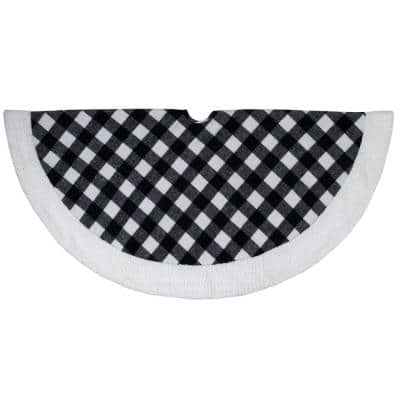 48 in. Black and White Buffalo Plaid Christmas Tree Skirt with Sherpa Trim